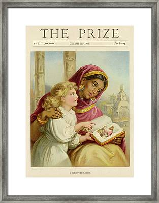 A Little White Girl Teaches An  Asian Framed Print by Mary Evans Picture Library