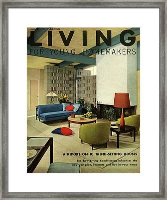 A Living Room With Carpeting By Callaway Framed Print by George De Gennaro