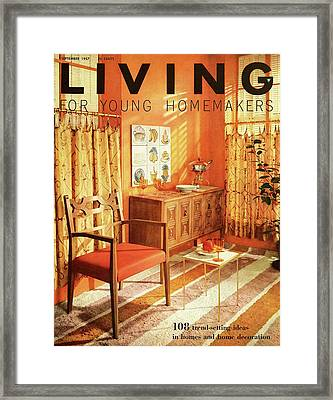 A Living Room With Furniture By Mt Airy Chair Framed Print