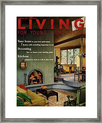 A Living Room With Sherwin-williams Wood-paneling Framed Print by Bill Margerin
