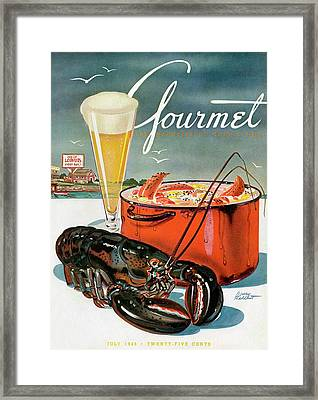 A Lobster And A Lobster Pot With Beer Framed Print by Henry Stahlhut
