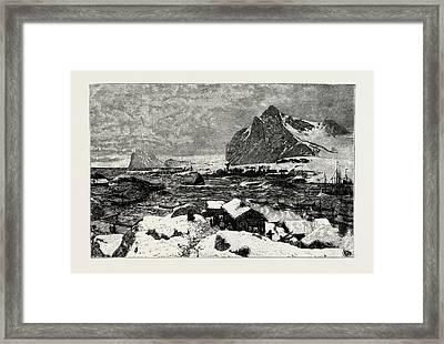 A Lofoten Village During The Fishing Season Framed Print