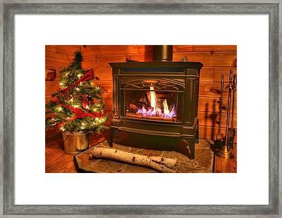 A Log Cabin Christmas Framed Print by Heather Allen