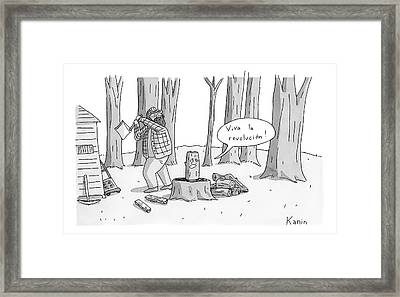 A Log With A Face Is About To Be Split In Half Framed Print by Zachary Kanin