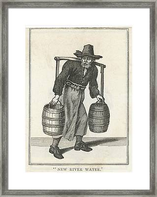 A London Water Carrier With Two Barrels Framed Print by Mary Evans Picture Library