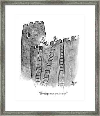 A Lone Medieval Soldier Climbs The Ladder Framed Print