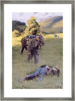 A Lonely Duel In The Middle Of A Great Sunny Field, Illustration From Rowand By William Gilmore Framed Print by Howard Pyle