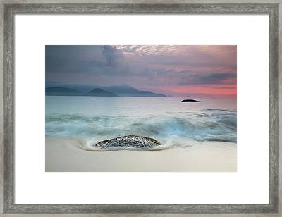 A Long Exposure Of A Colorful Sunrise Framed Print