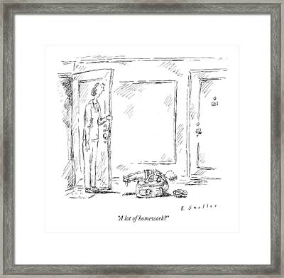 A Lot Of Homework? Framed Print by Barbara Smaller