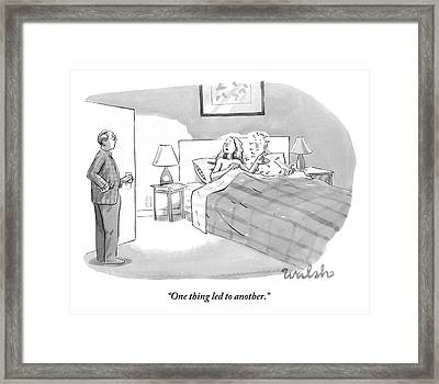 A Lover Covered In Numbered Dots Lies In Bed Framed Print by Liam Walsh