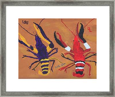 A Lsu Crawfish And A Ul Crawfish Framed Print