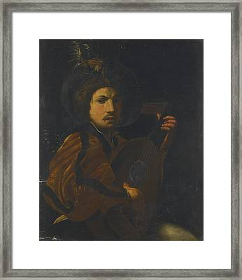 A Lute Player Framed Print by Celestial Images