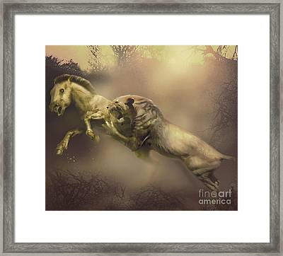 A Machairodus Saber-toothed Cat Attacks Framed Print