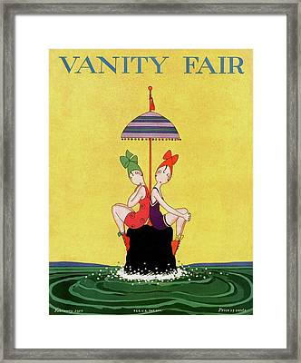 A Magazine Cover For Vanity Fair Of Two Women Framed Print by A. H. Fish