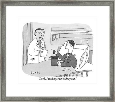 A Magician Shows His Doctor A Kidney-shaped Framed Print