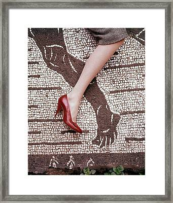 High Heel On Roman Mosaic Framed Print