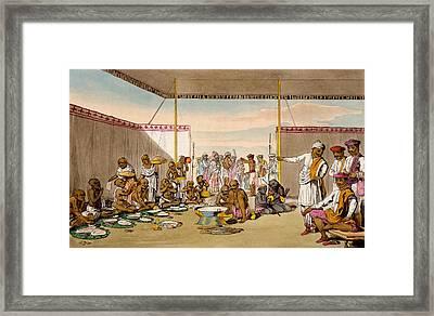A Mahratta Surdar Entertaining Framed Print by Deen Alee