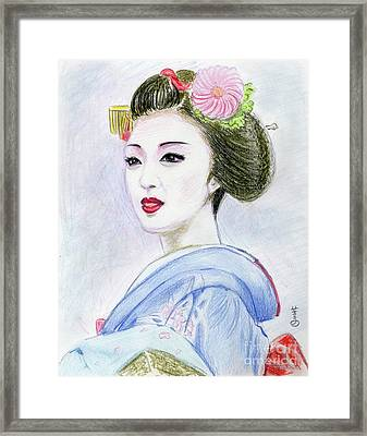 Framed Print featuring the drawing A Maiko  Girl by Yoshiko Mishina