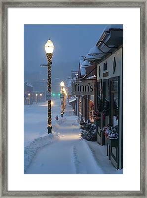 A Maine Street Christmas Framed Print by Patrick Downey