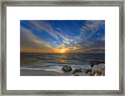 Framed Print featuring the photograph A Majestic Sunset At The Port by Ron Shoshani