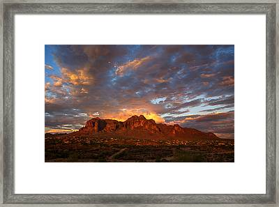 A Majestic Sunset At The Superstitions Framed Print