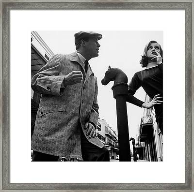 A Male And Female Model Posing On Chartres Street Framed Print by Chadwick Hall