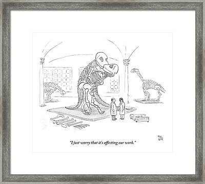 A Male And Female Paleontologist Framed Print