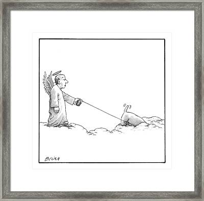 A Male Angel Walks His Dog On A Leash Across Some Framed Print by Harry Bliss