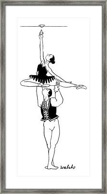 A Male Ballet Dancer Lifts A Ballerina Framed Print by Liam Walsh