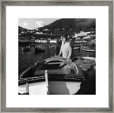 A Male Model At The Harbor Of Camara De Lobos Framed Print by Leonard Nones