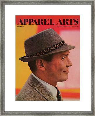 A Male Model In A Gray Hat Framed Print