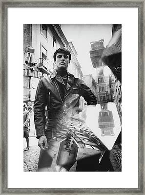 A Male Model Posing In Front Of The Elevator De Framed Print by Leonard Nones