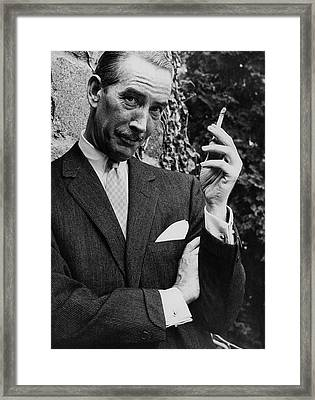 A Male Model Wearing A Cashmere Suit By Baker Framed Print