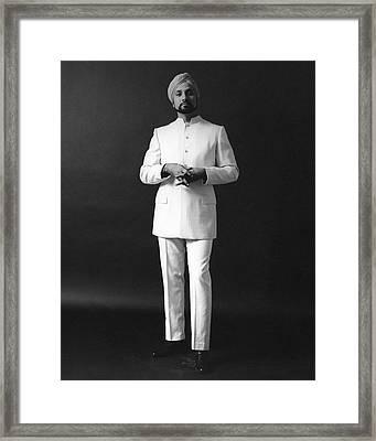 A Male Model Wearing A Custom-tailored Gaberdine Framed Print