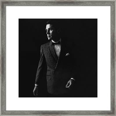 A Male Model Wearing A Textured Silk Razor Stripe Framed Print by Leonard Nones