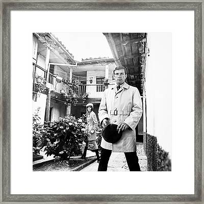 A Male Model Wearing A Trench Coat Framed Print