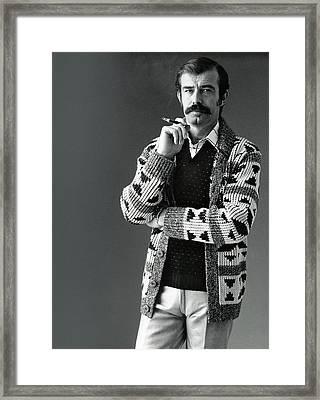 A Male Model Wearing An Aztec-motif Cardigan Framed Print by Bill Cahill