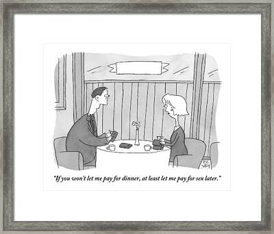 A Man Addresses His Date Who Is Offering To Pay Framed Print