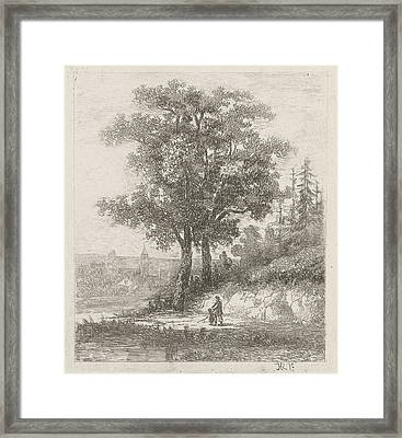 A Man And A Child On The Waterfront, Hermanus Jan Hendrik Framed Print