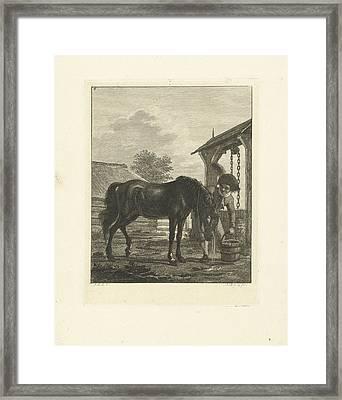 A Man And A Horse Near A Well, Print Maker Joannes Bemme Framed Print