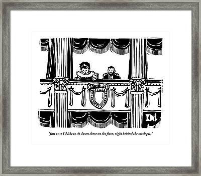 A Man And A Woman Are Sitting In The Balcony Framed Print