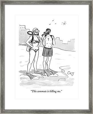A Man And A Woman In Swimsuits And Diving Gear Framed Print