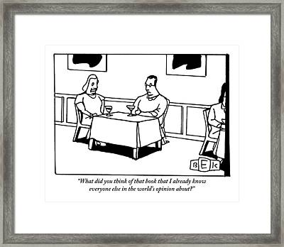 A Man And A Woman Sit At A Restaurant Dinner Table Framed Print by Bruce Eric Kaplan