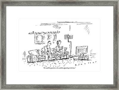 A Man And A Woman Sit In A Living Room Watching Framed Print