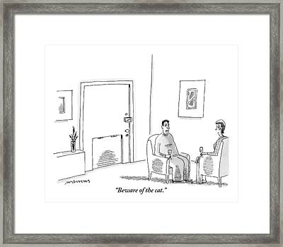 A Man And A Woman Sit In The Living Room Drinking Framed Print