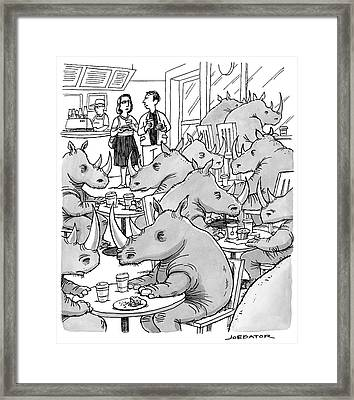 A Man And A Woman Stand In A Coffee Shop Which Framed Print by Joe Dator