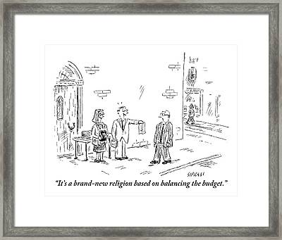 A Man And A Woman Stand On A Street Corner Framed Print