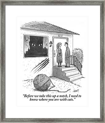 A Man And A Woman Stand On The Stoop Framed Print