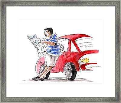 A Man And His Car And His Newspaper Framed Print by Miki De Goodaboom