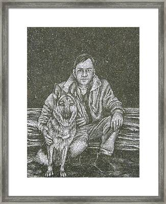 A Man And His Dog Framed Print by Dennis Pintoski